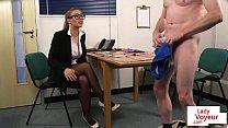 Spex voyeur femdom dominates over sub guy