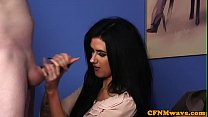 Adorable cfnm babe cocksucking in office