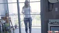 My busty stepmom wiping our windows with her huge tits
