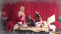 19904 2 Young Girls fuck 2 Old Men and Swallow their cum on chirstmas day preview