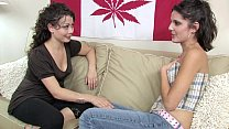 Sweet young lesbian friends have fun with vibrators preview image