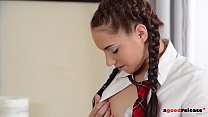 Extra hot schoolgirl Jenny massages stud's hard...