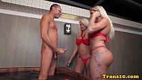 Tgirl twins sucking and fucking in threesome