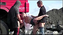 Construction site PUBLIC gangbang with a young pretty girl صورة