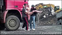Construction Si te Public Gangbang With A Youn ang With A Young Pretty Girl