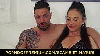 SCAMBISTI MATURI - Big titted mature Italian lady Moana Prati enjoys fucking young cock thumbnail