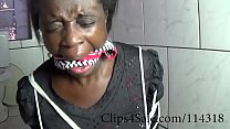 Clips4Sale.com/114318 black slave tied and gagged with her own panties