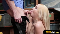 Cute blonde shoplifter pays with pussy for the mall cop