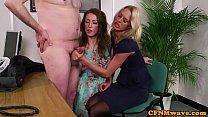 Busty british femdom tugs sub in glamour trio