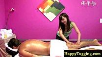Asian masseur rubs down horny client