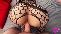 Fishnet Blonde Sensual Sucks Big Dick And Takes