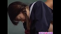 Skinny Sayaka Tsutsumi spreads her legs for huge pole to slide in