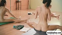 Big tits trainer and two brunettes yoga session while naked pornhub video