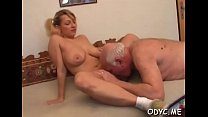 Old guy knows how to make a sweet young slit super wet