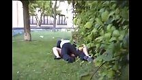 Voyeur couple fucks outside