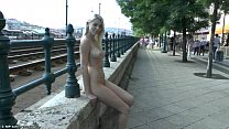Sweet blonde teen Karol nude in public