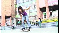 punk skateboarder latina named Diana Delgado getting her tight pussy fucked hard