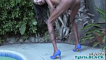 Smalltits black tranny masturbating outdoors