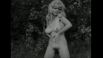 Vintage B&W Swedish blond with big boobs and hairy pussy dancing preview image