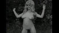 Vintage B&W Swedish blond with big boobs and hairy pussy dancing thumbnail