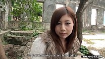 Image: Cute Asian teen gets prepared for her first porn outdoors