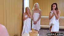 Three teen hotties share a hard monstercock in a sauna's Thumb