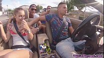 Jenny Glam fucked on a car on a public road