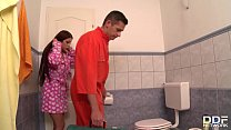 Horny brunette Claire gives the repairman the ultimate blowjob on her knees image