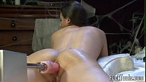 Busty amateur drilled by dildo machine