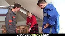 Two repairmen fuck old blonde grandma video