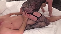 HotWife Amber - BJ, 69 and Fuck in Black Fishnet Stockings صورة