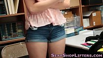 Shoplifting teen cummed video