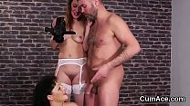 Horny sex kitten gets sperm load on her face eating all the love juice