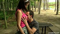Busty brunette teen Rita gets fucked outdoors porn thumbnail