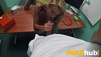 Fake Hospital Sweet blonde Russian eats docs cum after doggystyle fucking thumbnail