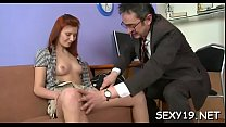 Sweet chick offers her wild cum-hole for teacher's pleasure video