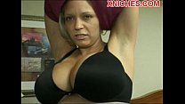 Mature with big tits sucks two cocks