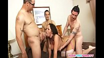 Busty Brunette Milf In Gangbang Action