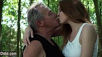 Sexy young redhead seducing grandpa and has inc...