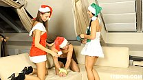 Christmas threesome femdom with cumshot - 69VClub.Com