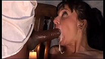 Italian brunette sucks a black cock who cums in...