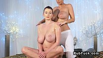 Nice pairs of lesbian huge boobs in massage room