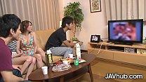 Japanese foursome with Hinata Hyuga and Haruka Sasano ปาร์ตี้สวิงกิ้งเสียว