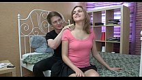 Sweet-looking teen gal takes hard cock