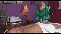 Hot blonde fucked after massage