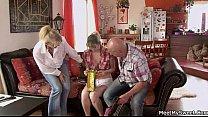 Old mom and dad seduce and bang their son's GF thumbnail