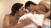 Moe Yoshikawa devours two cocks in perfect trio thumbnail