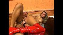 Sexy woman in red boots fucked in a tavern