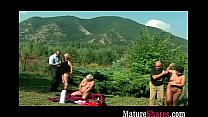 Horny granny lesbian outdoor orgy