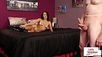 Naughty dominant Brit instructing jerkoff